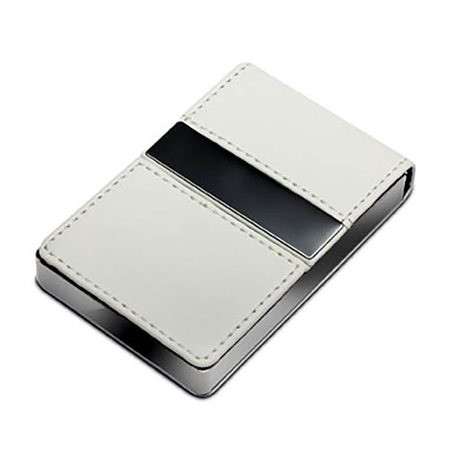 White Leather & Metal Business Cards Case