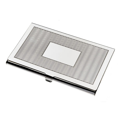 Wave Pattern Silver Plated Business Cards Case