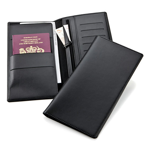 Deluxe Travel Wallet in Black Belluno Leather