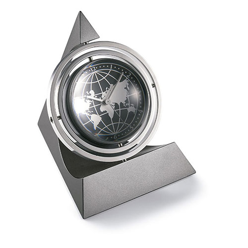 Rotating Desk Clock in Magnifying Glass Globe