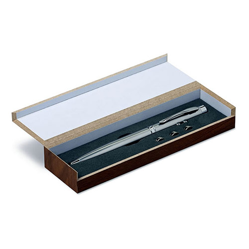Silver Multifunction Pen in Wood Box