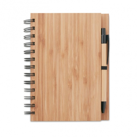 Bamboo Cover Spiral Notebook with Bamboo Ballpoint Pen