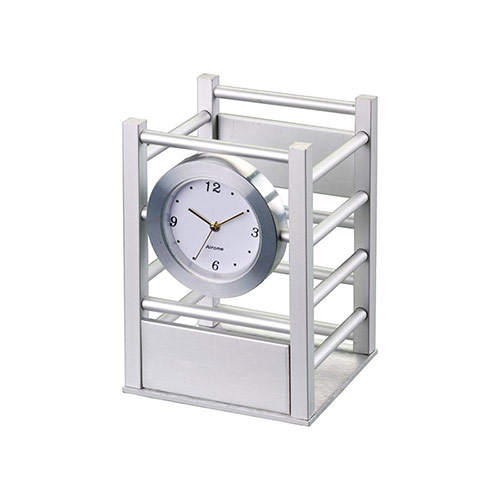 Aluminum Square Pencil Holder with Clock
