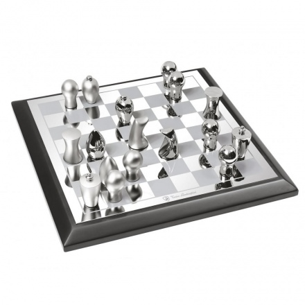 Abstract Chess Set in Silver Plated Finish