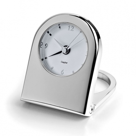 Silver Plated Travel Desk Alarm Clock