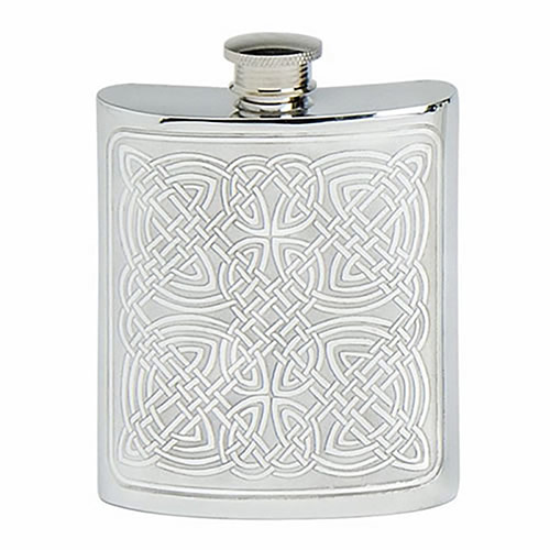 Pewter Hip Flask with Celtic Decoration
