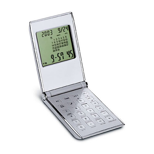 Calculator & World Time Clock in Flip-Top Case