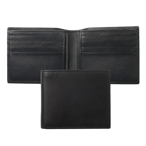 Black Real Leather 8 Slot Wallet - Sintra