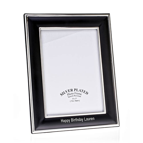 Engraved Black & Silver Plated 8x10in Photo Frame