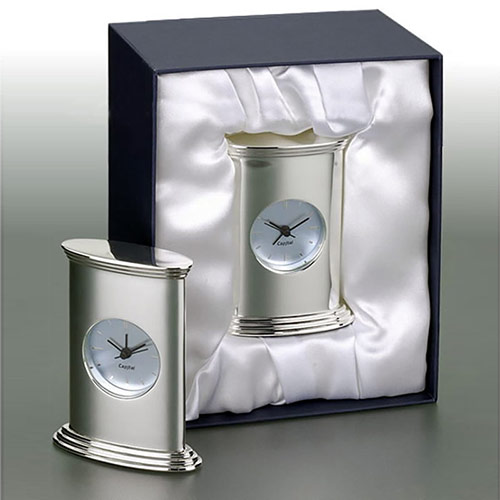 Silver Plated Clock in Gift Box