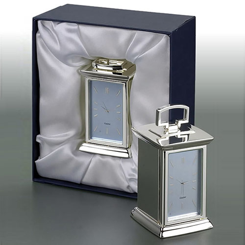 Silver Plated Carriage Clock in Gift Box