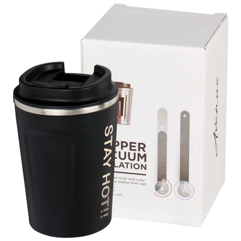 Matt Black Leak-Proof 360ml Copper Vacuum Travel Mug
