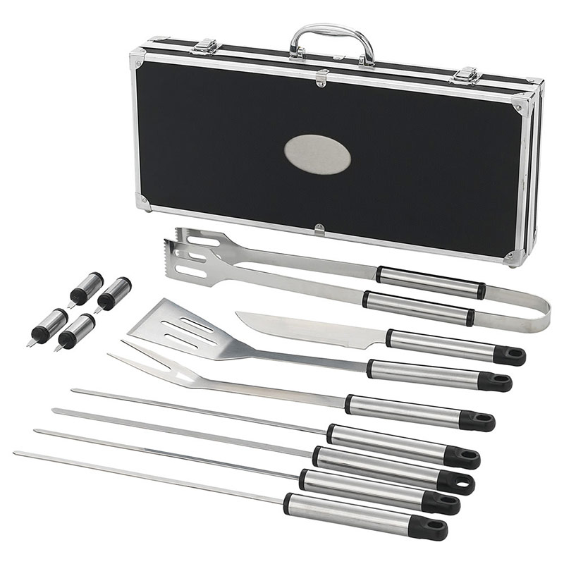 12 Piece BBQ Set in Black Aluminum Case