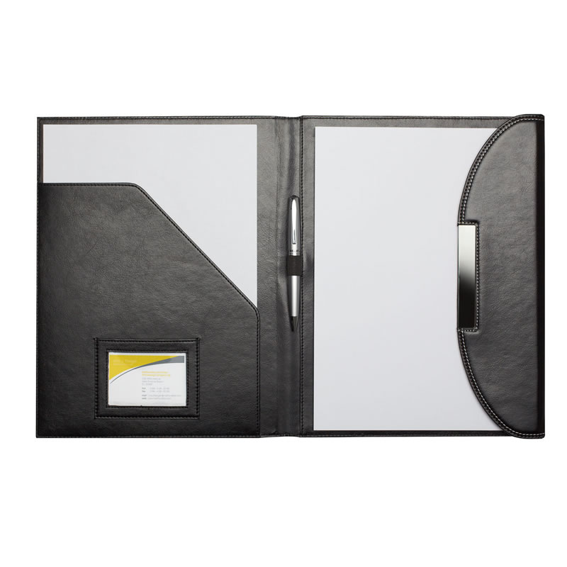 Black PU Leather A4 Conference Folder with Writing Pad