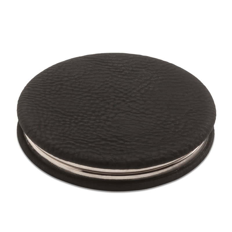 Circular Pocket Mirror in Black PU Leather Cover