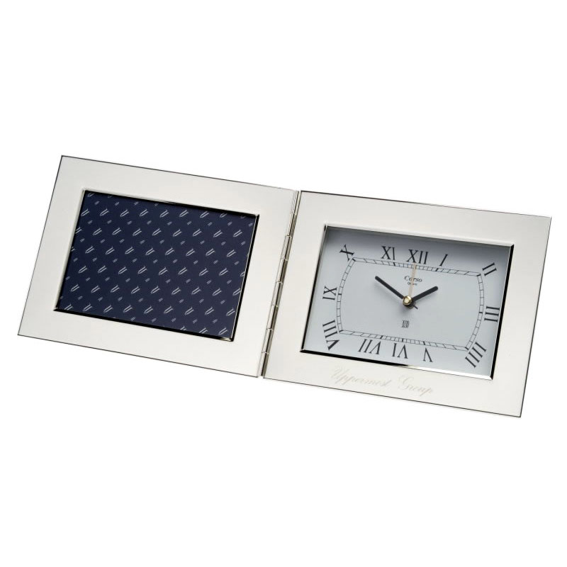 Silver Plated Folding Desk Clock With Photo Frame Business Gifts