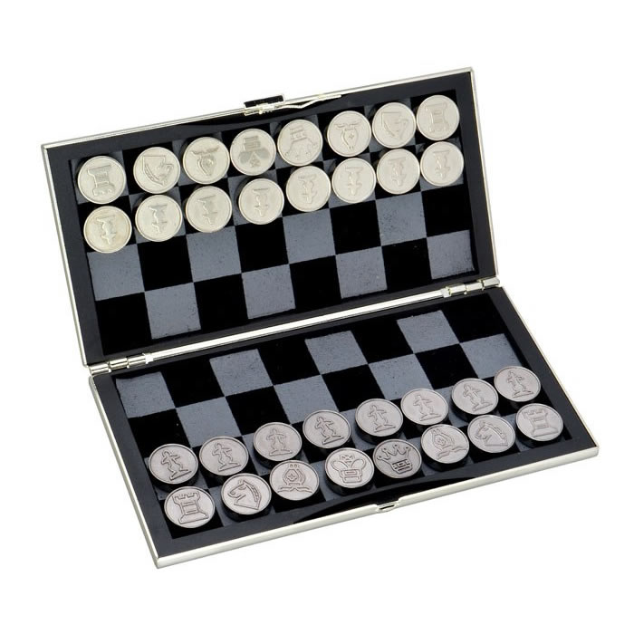 Silver Plated Travel Chess Game