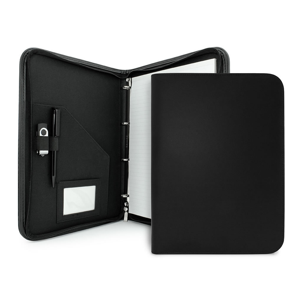 Black PU Leather A4 Zipped Ring Binder Clapham