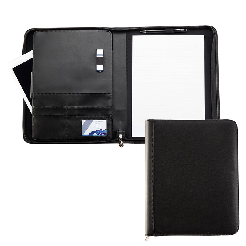 Black Houghton PU Leather Deluxe A4 Zipped Conference Folder