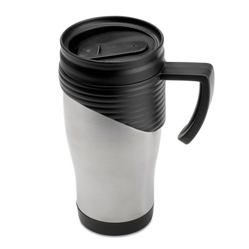 Promotional Travel Mug with Black Trim
