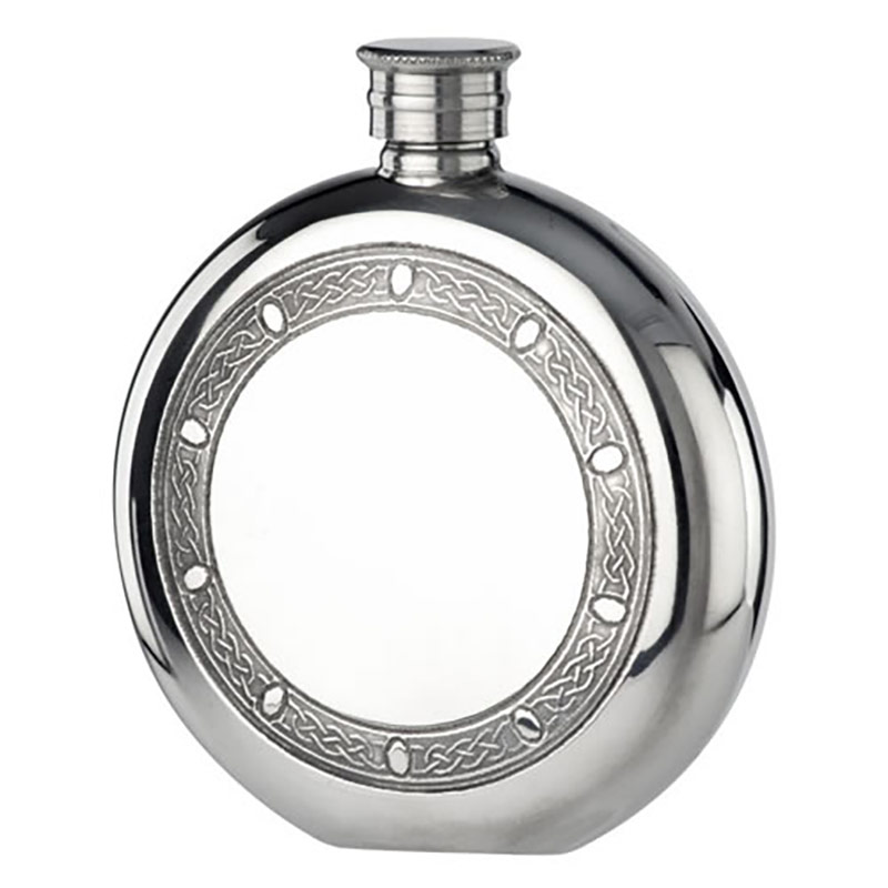 5oz Celtic Design Round Pewter Flask