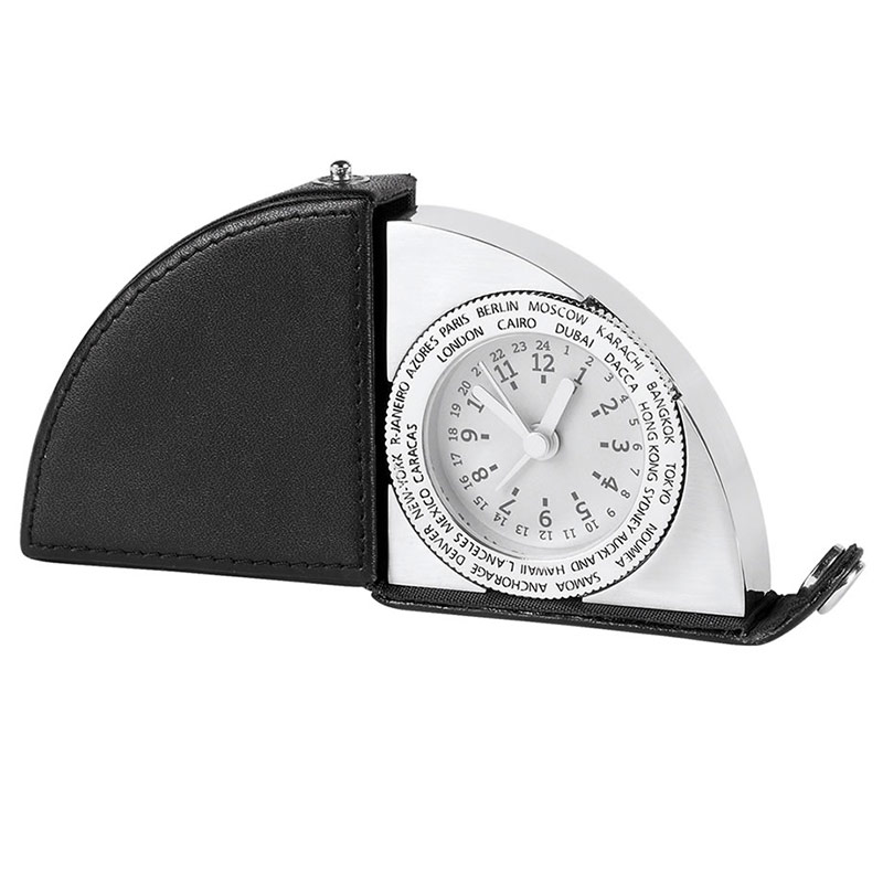 Leather & Silver World Travel Clock