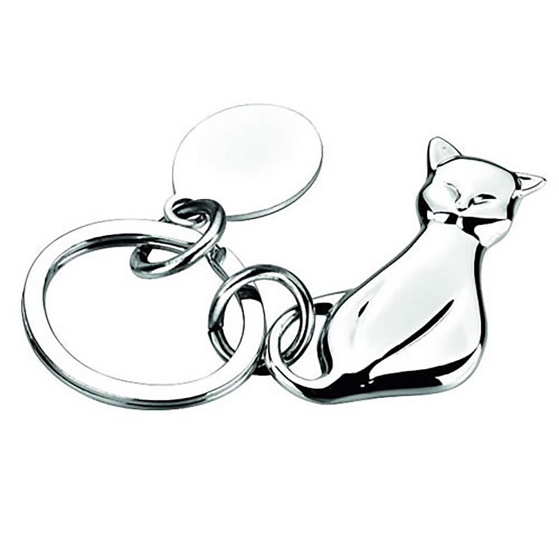 Silver Plated Sitting Cat Keyrings