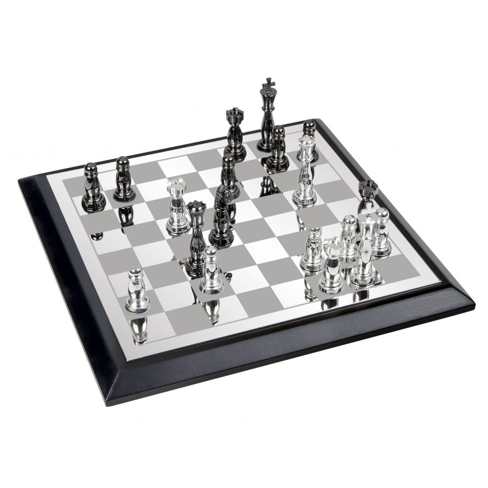 Classic Boxed Chess Set in Silver Plated Finish
