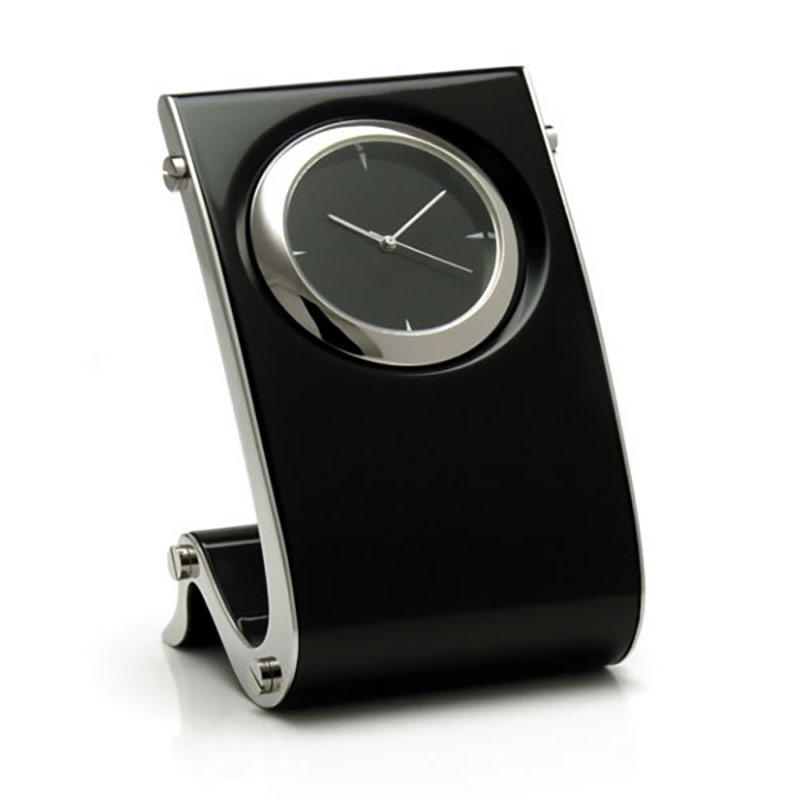 Black Gloss Finish Wave Design Clock