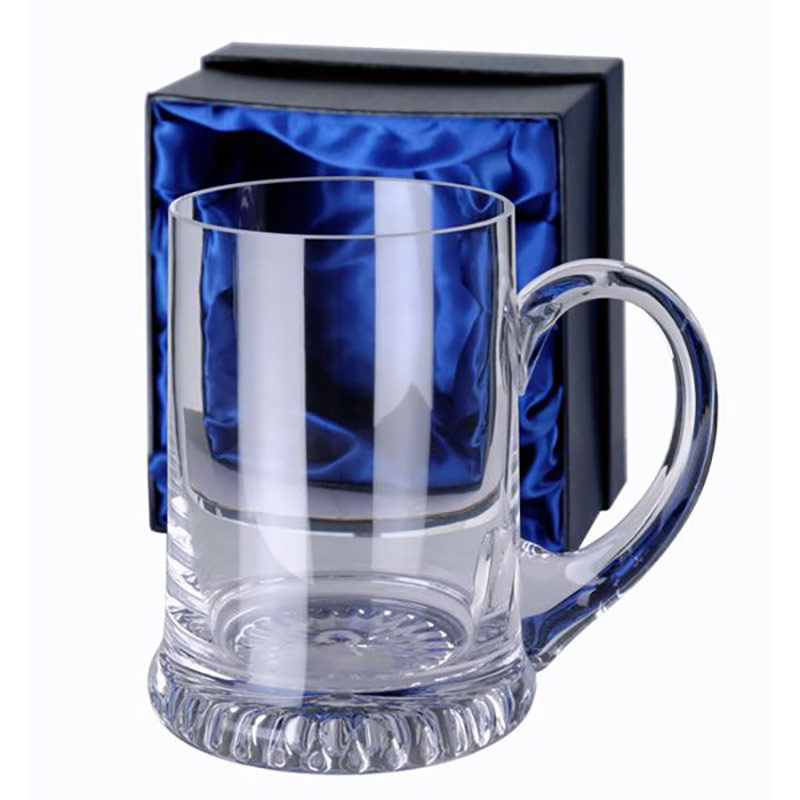 Boxed Clear Crystal Tankard with Curved Handle