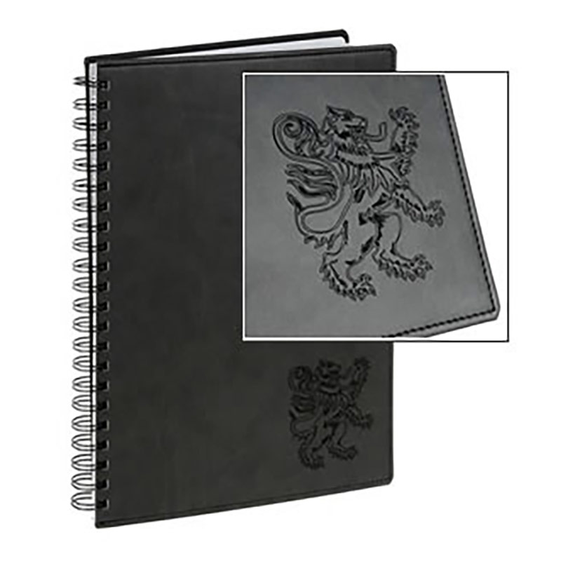 Leather spiral bound notebook with engraved logo