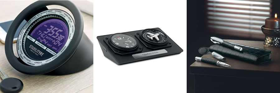 Steering wheel desk clock, aviation theme desk clock and faux crocodile leather pen set