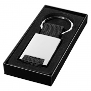 Promotional Rectangular Keyring in Silver with Black Webbing