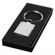 Promotional Rectangular Metal Keychain in Silver Colour