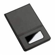 Promotional Pocket Mirror with Black PU Leather Flip Cover