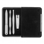 Travel Manicure Set in Black PU Leather Covered Case