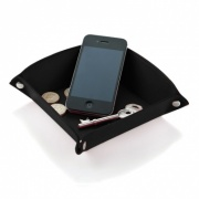 Desk Tidy Tray in Black Belluno Leather