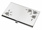 Flower Pattern Silver Plated Cards Case