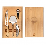 Bamboo Wood Wine and Cheese Set