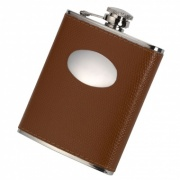 6oz Hip Flask with Tan Genuine Leather Cover