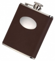 6oz Hip Flask with Brown Genuine Leather Cover