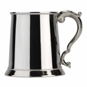 Polished Stainless Steel Tankard with Georgian Handle