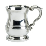 1PT Polished Pewter Tankard in Tudor Style