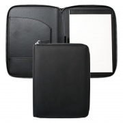 Black PU Leather A5 Zipped Folder